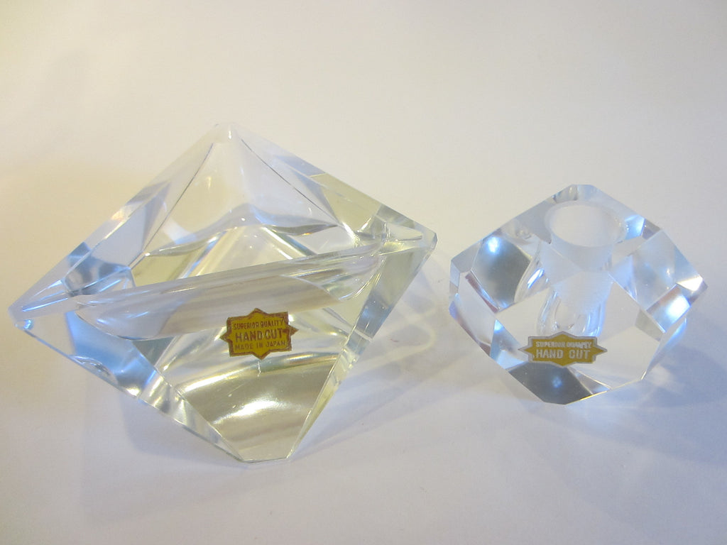 Superior Quality Hand Cut Crystal Triangle Modern Art Glass Desk Set
