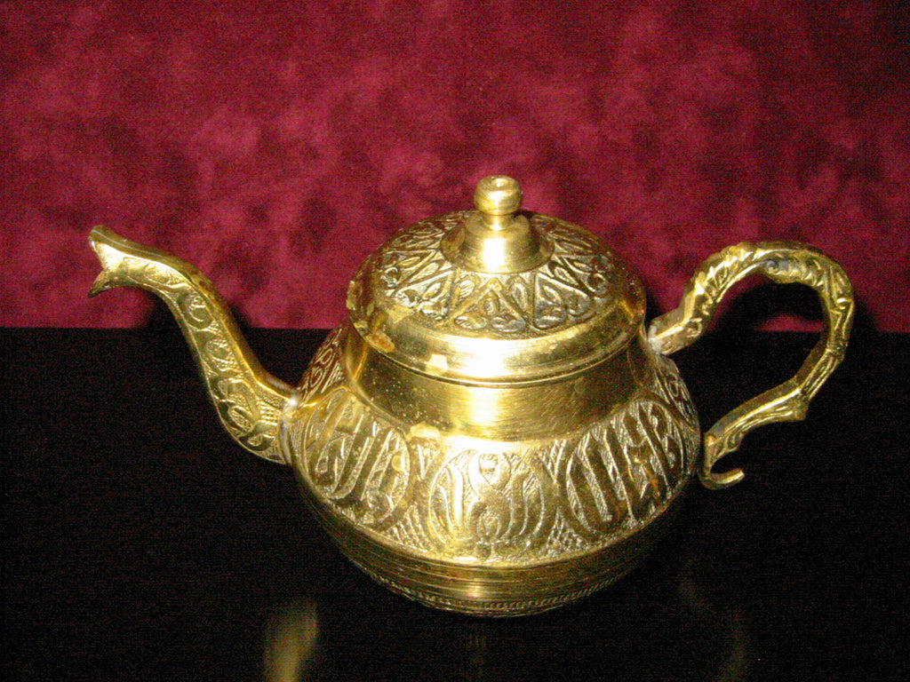 Brass Celtic Teapot Eastern Inspiration Asian Design - Designer Unique Finds   - 1