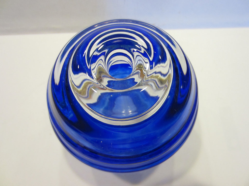 Blue Glass Candle Holder Striker Paperweight Hand Made In Poland