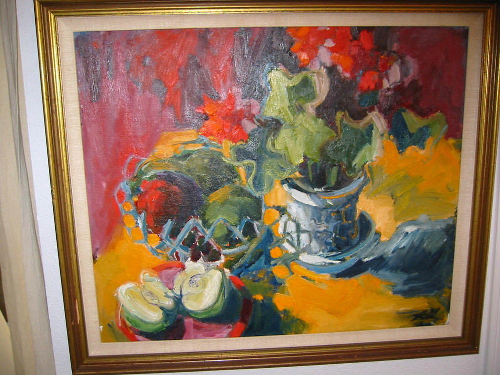 Still Life Impressionist Abstract Green Apple Oil On Canvas - Designer Unique Finds