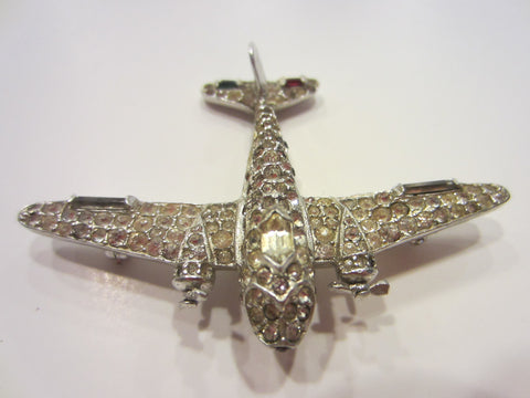 Trifari Airplane Brooch Swarovski Micro Pave Silver Propeller - Designer Unique Finds