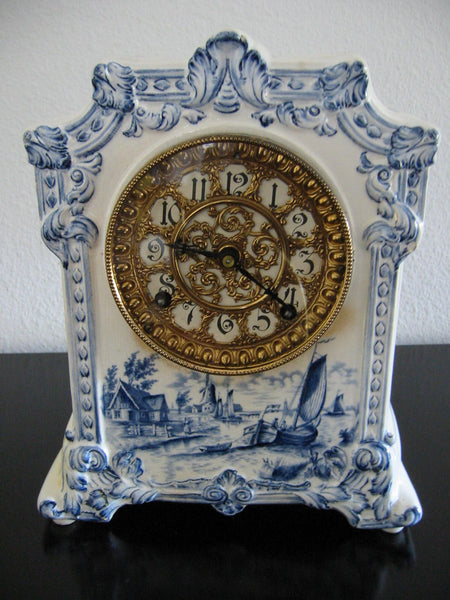Ansonia Royal Bonn Porcelain Windmill Mantle Mantle Clock - Designer Unique Finds   - 2