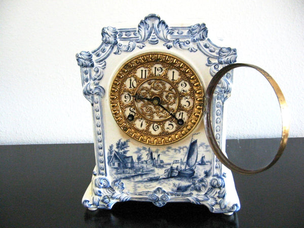 Ansonia Royal Bonn Porcelain Windmill Mantle Mantle Clock - Designer Unique Finds   - 1