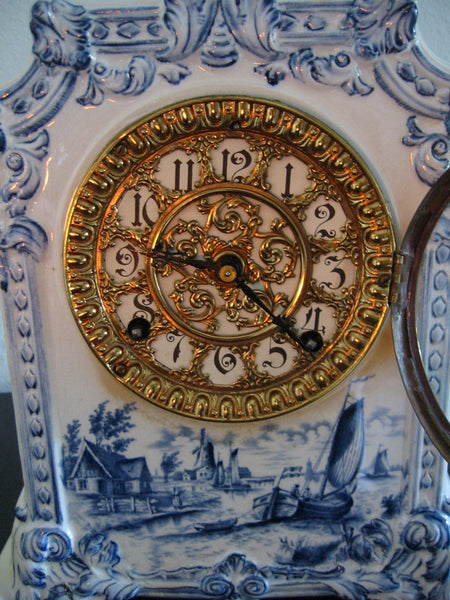 Ansonia Royal Bonn Porcelain Windmill Mantle Mantle Clock - Designer Unique Finds   - 4