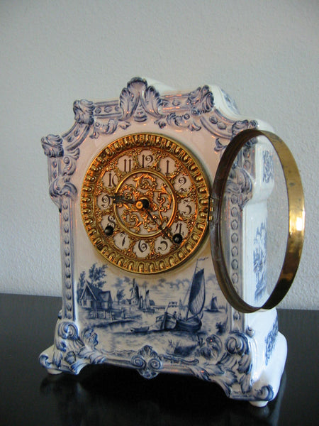 Ansonia Royal Bonn Porcelain Windmill Mantle Mantle Clock - Designer Unique Finds   - 3