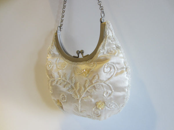 Hillard Hanson Sequined White Satin Evening Purse Silver Tone Chain - Designer Unique Finds
