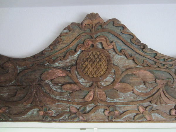 Architectural Celtic Panel Hand Decorated Carved Painted Floral Design - Designer Unique Finds