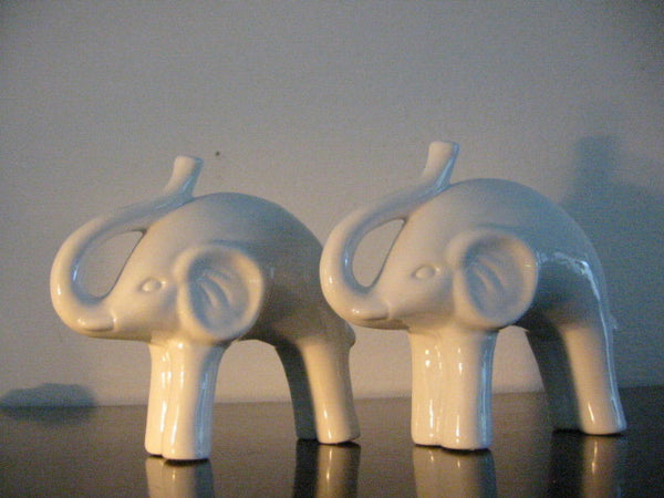 White Ceramic Abstract Elephants Mid Century Modernist - Designer Unique Finds