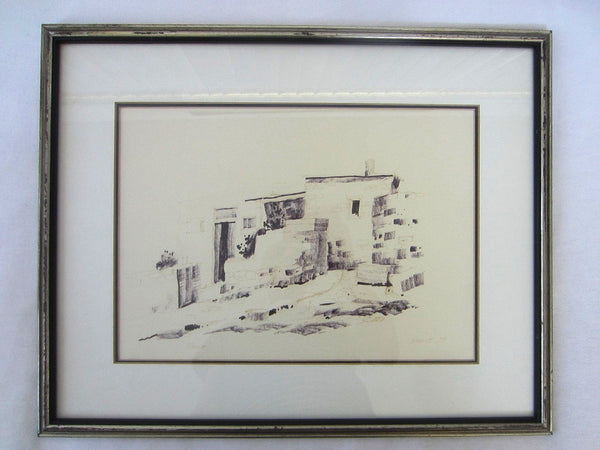 Architectural Abstract Drawing Guache Signed Woolfe 79  Renia - Designer Unique Finds