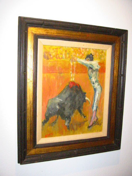 Matador Bull Fighter Impressionist Spanish Revival Oil On Canvas - Designer Unique Finds