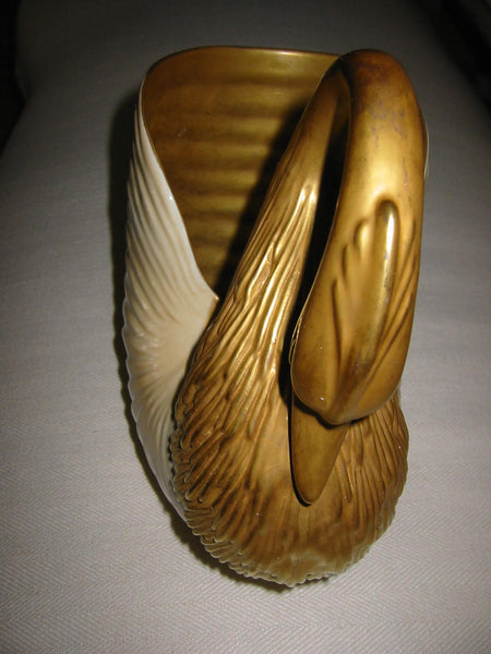 Italian Swan Golden Bisque Planter - Designer Unique Finds