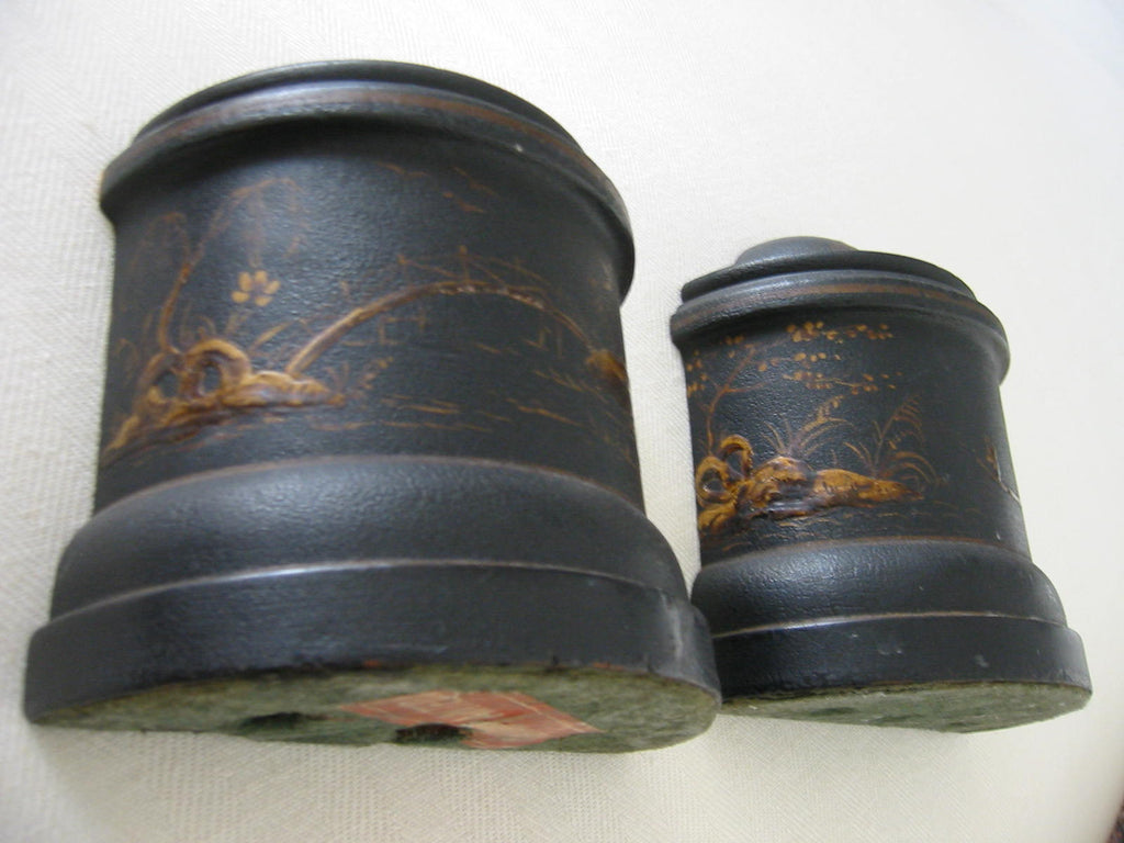 Japanese Scenic Bookends High Relief Gilt Flowers - Designer Unique Finds   - 1