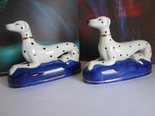 White Dalmatians Porcelain Gilt Decorated Bookends - Designer Unique Finds