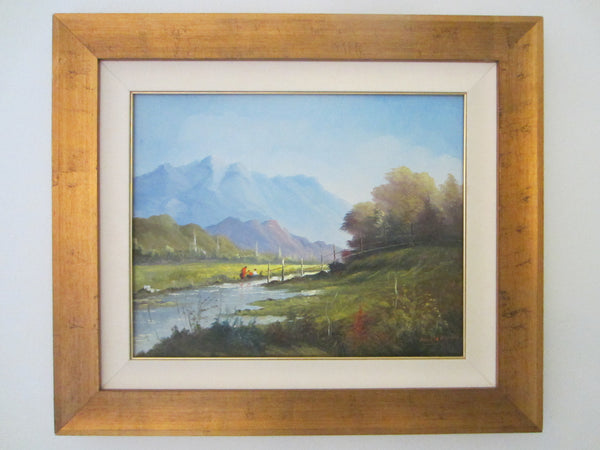 Andres Orpinas Landscape Signed Oil On Canvas