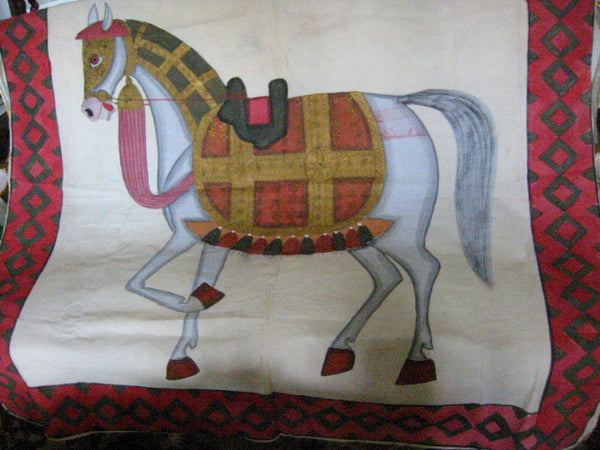 Fabric Tapestry Hand Painted Equestrian Horse Textile Art Throw - Designer Unique Finds   - 1
