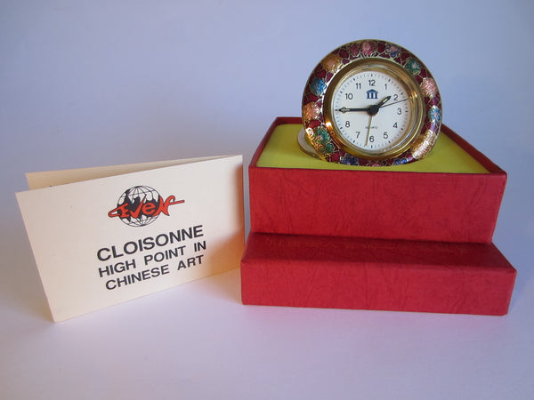 A Cloisonne Floral Brass Desk Clock Brass Self Stand - Designer Unique Finds   - 1
