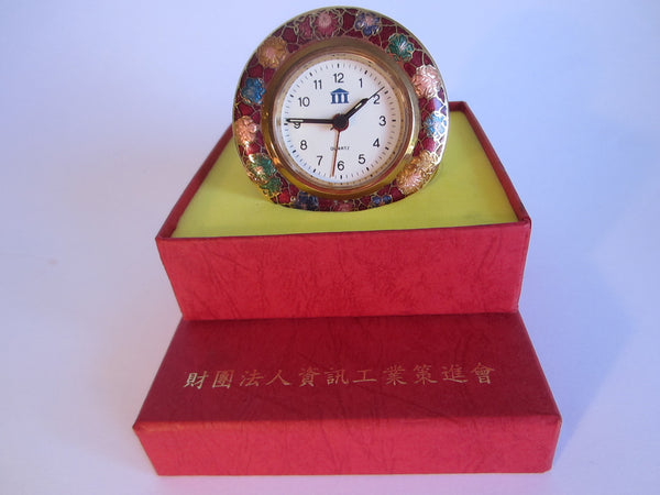 A Cloisonne Floral Brass Desk Clock Brass Self Stand - Designer Unique Finds   - 4