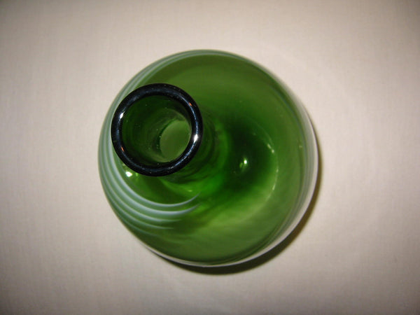 Abstract Glass Vase Hand Blown Green Shades Spiral - Designer Unique Finds   - 2