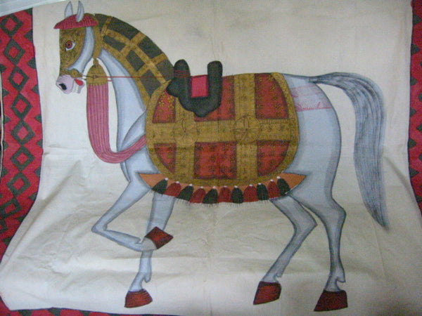 Fabric Tapestry Hand Painted Equestrian Horse Textile Art Throw - Designer Unique Finds   - 3