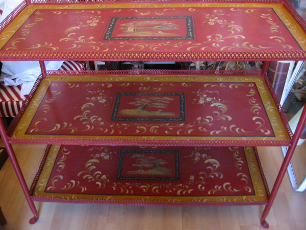 Red Tole Etagere Asian Scene Medallion Tiered Artist Signed - Designer Unique Finds   - 1