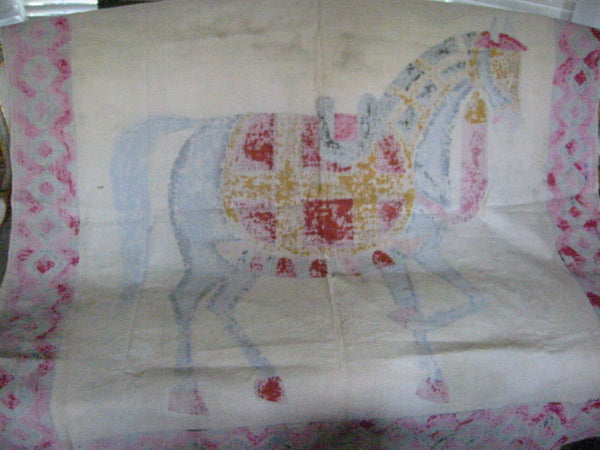 Fabric Tapestry Hand Painted Equestrian Horse Textile Art Throw - Designer Unique Finds   - 5