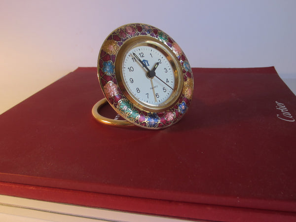 A Cloisonne Floral Brass Desk Clock Brass Self Stand - Designer Unique Finds   - 3