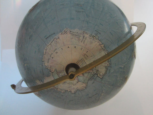 Land Sea Replogle World Globe On Tripod Metal Wood Stand
