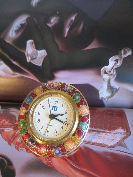 A Cloisonne Floral Brass Desk Clock Brass Self Stand - Designer Unique Finds   - 6