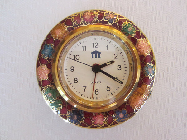 Chinese Desk Clock Modern Cloisonne Floral Over Brass - Designer Unique Finds