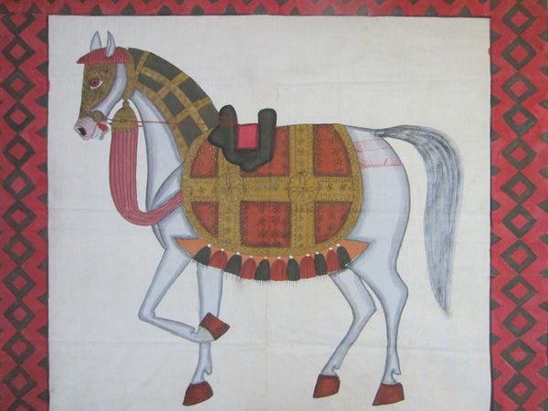 Fabric Tapestry Hand Painted Equestrian Horse Textile Art Throw - Designer Unique Finds