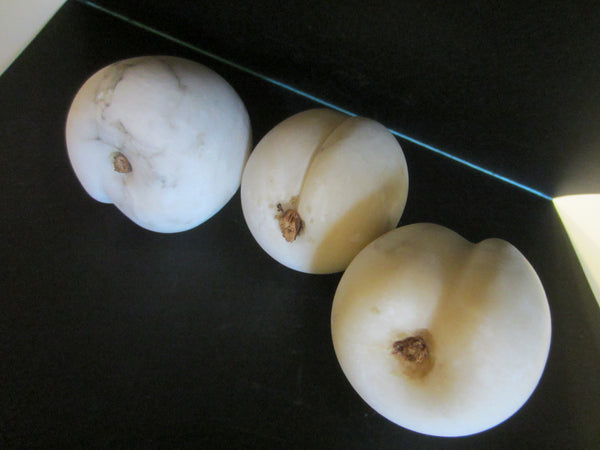 White Marble Apricots With Stems In Group - Designer Unique Finds