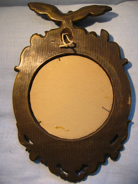 Regency Wall Mirrors Eagle Crests Convex Composed Antiqued Gold - Designer Unique Finds   - 2