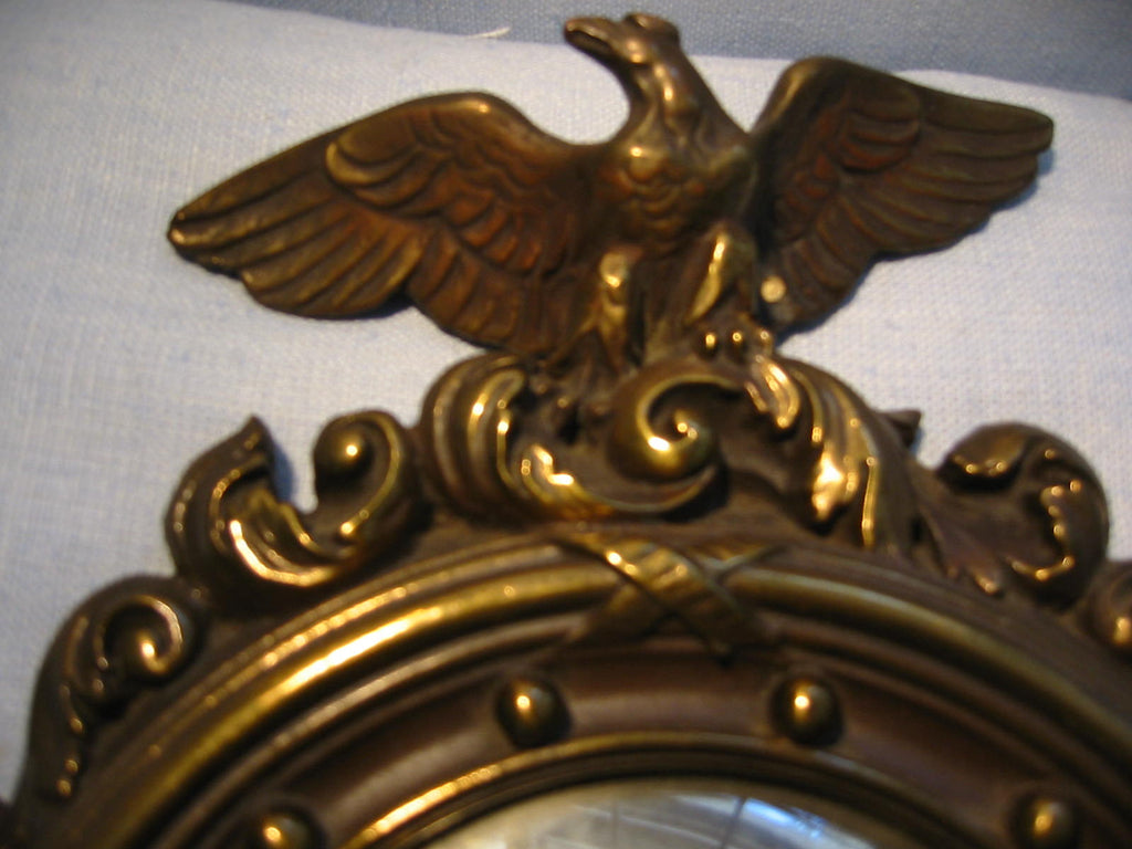 Regency Wall Mirrors Eagle Crests Convex Composed Antiqued Gold - Designer Unique Finds   - 4
