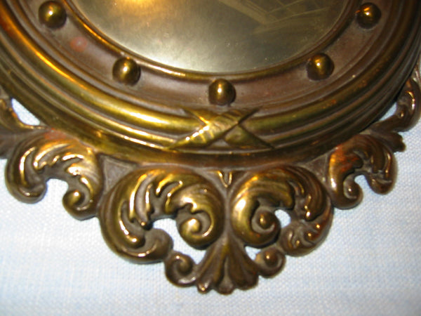 Regency Wall Mirrors Eagle Crests Convex Composed Antiqued Gold - Designer Unique Finds   - 3