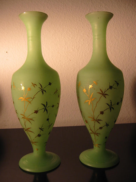 French Green Satin Glass Vessels Gold Leaves Decorated Vases - Designer Unique Finds   - 2
