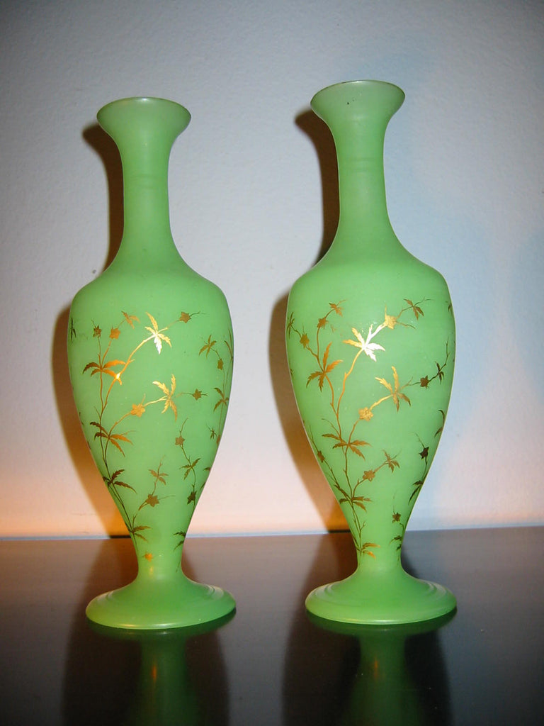 French Green Satin Glass Vessels Gold Leaves Decorated Vases - Designer Unique Finds   - 1