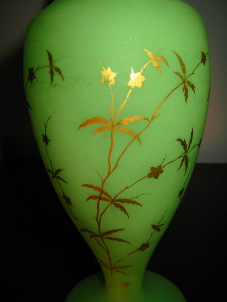 Opaline Pastel Green Glass Vases Gilt Decorated Flowers Bottle Shaped - Designer Unique Finds