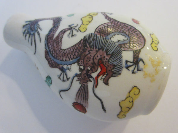 Asian Porcelain Snuff Bottle Signed Painted Dragons - Designer Unique Finds   - 2