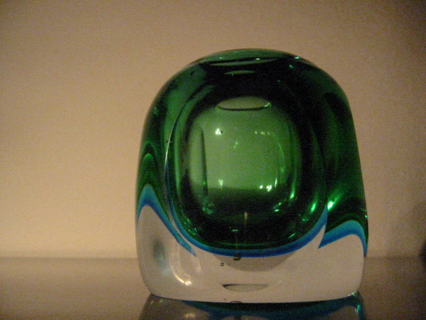 Murano Glass Candle Holder Geometric Green Bowl - Designer Unique Finds