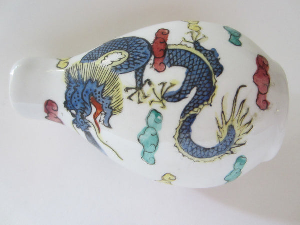 Asian Porcelain Snuff Bottle Signed Painted Dragons - Designer Unique Finds   - 3
