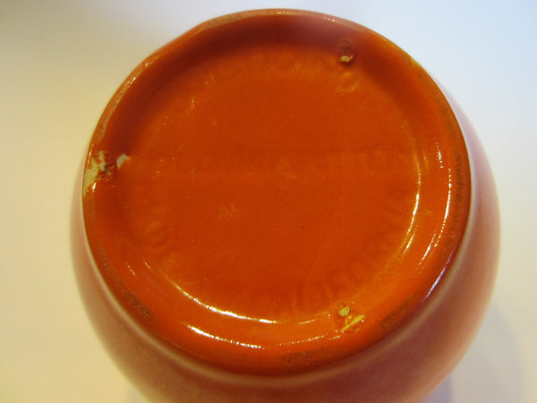 California Pottery Bowl Orange Ceramic Decorated Relief Marks