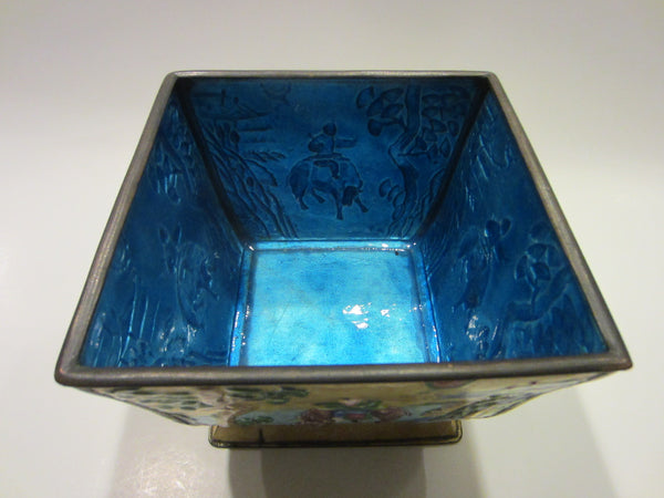 Asian Yellow Enamel Ware Metal Bowl Figurative Hand Decorated Blue Interior - Designer Unique Finds