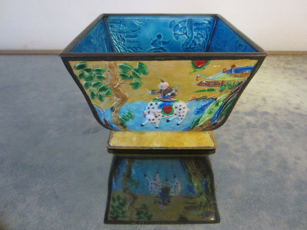 Asian Yellow Enamel Ware Metal Bowl Figurative Hand Decorated Blue Interior