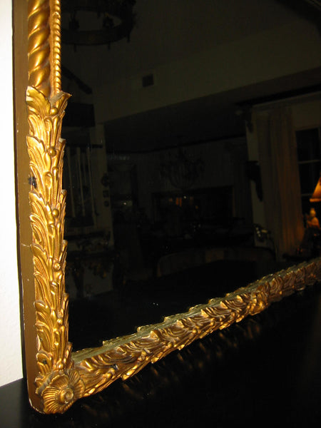 Art Deco Gold Leaf Mirror Heavily Decorated Floral Crown - Designer Unique Finds
