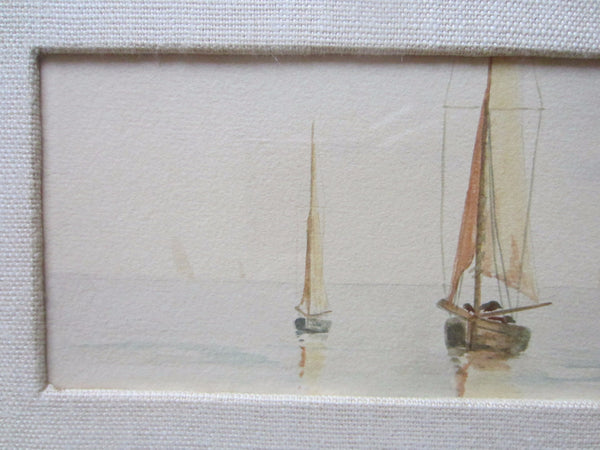 Water Color Gauche Sailboats Seascape Impressionist Signed by Artist Trysout - Designer Unique Finds
