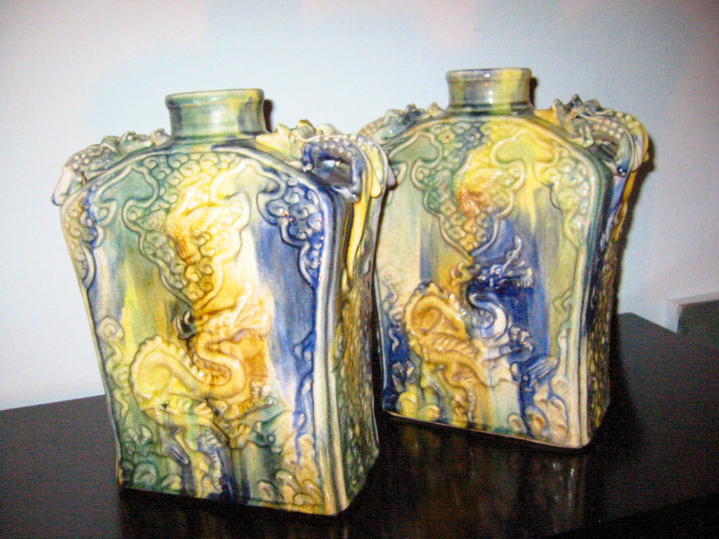 Majolica Ceramic Vases Swirl Dragons Insects Handles - Designer Unique Finds