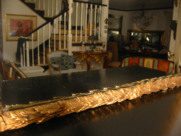 Rococo Revival Antique Mirror Gold Leaf Decorated Floral Crown - Designer Unique Finds   - 4