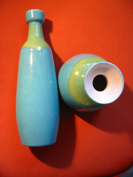 Modern Blue Ceramic Vases Green Accent Various Sizes - Designer Unique Finds