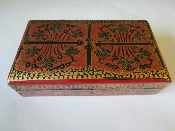 Red Lacquered Box Hand Decorated Gold Accent - Designer Unique Finds   - 1