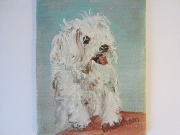 White Poodle Dog Painting Signed Oil On Board - Designer Unique Finds